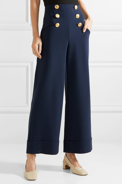 Jersey Bouton-embelli Ferris Pantalons À Jambes Larges - Bleu Marine Alice & Olivia LFnwn6DHB