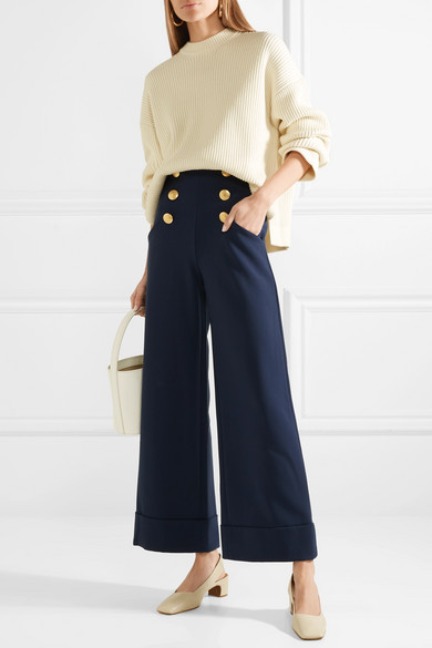 Buttoned Wide Leg Trousers