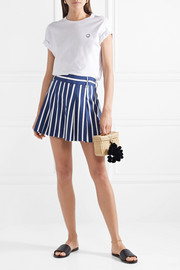 Scarlet pleated striped linen-blend shorts