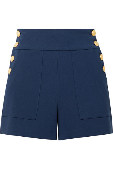 Navy Gold Button Shorts