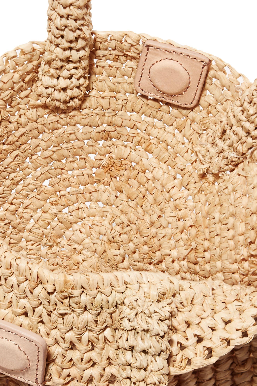Loeffler Randall Circle Tote aus Stroh mit Lederbesätzen und Pompons