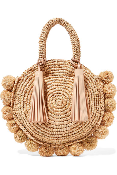 Loeffler Randall - Circle Pompom-embellished Leather-trimmed Straw Tote - Beige
