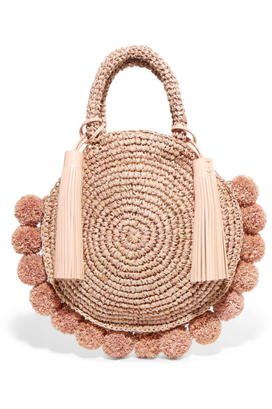 Loeffler Randall - Circle Pompom-embellished Leather-trimmed Straw Tote - Blush