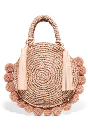Circle pompom-embellished leather-trimmed straw tote