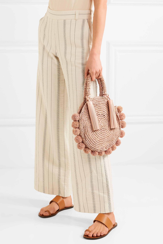 Loeffler Randall Circle pompom-embellished leather-trimmed straw tote