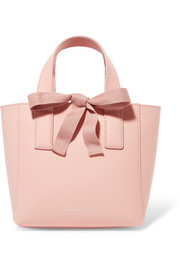 Mini grosgrain-trimmed textured-leather tote
