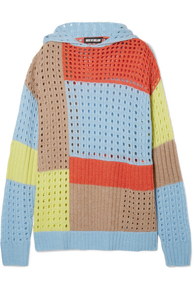 House of Holland Kapuzenpullover aus einer Merinowollmischung in Patchwork-Optik