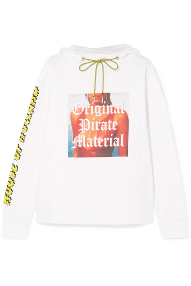 House Of Holland PRINTED COTTON-JERSEY HOODED TOP