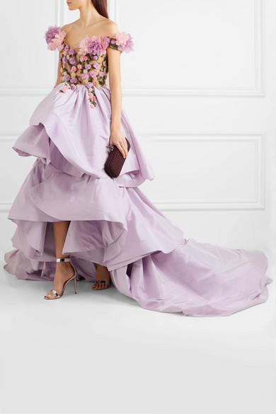 Marchesa Schulterfreie Robe aus Seidentaft und Tüll mit Verzierung