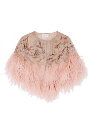 Marchesa Feather-trimmed beaded tulle cape