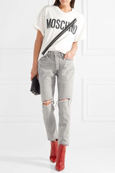 Moschino T-Shirt aus Baumwoll-Jersey mit Reißverschluss und Print