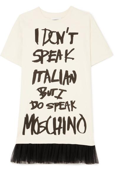 Moschino Bedrucktes Minikleid aus Baumwoll-Jersey mit Tüllbesatz