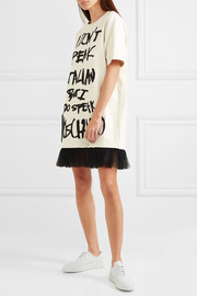 Tulle-trimmed printed cotton-jersey mini dress