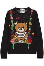 Moschino Teddy intarsia open-knit cotton sweater