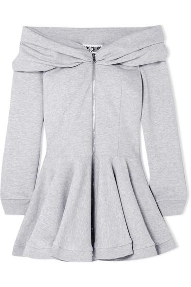 Moschino Schulterfreies Minikleid aus Baumwoll-Jersey mit Schößchen Geschäft Zum Verkauf Liefern Offizielle Günstig Online Günstig Kaufen Auslassstellen Billig Erstaunlicher Preis ql7ZP