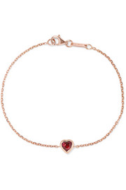 Heart 18-karat rose gold ruby bracelet