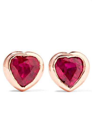 Anita Ko - Heart 18-karat Rose Gold Ruby Earrings