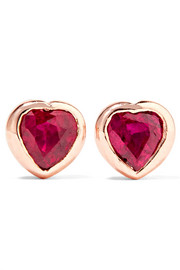 Heart 18-karat rose gold ruby earrings
