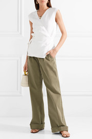 Theory Linen and cotton-blend wrap top