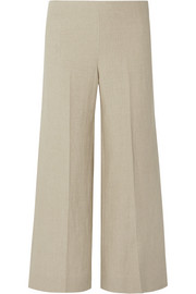 Terena B cropped linen wide-leg pants