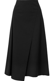 Wrap-effect cotton-blend poplin midi skirt
