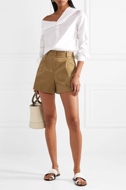 Theory Pleated cotton-blend twill shorts