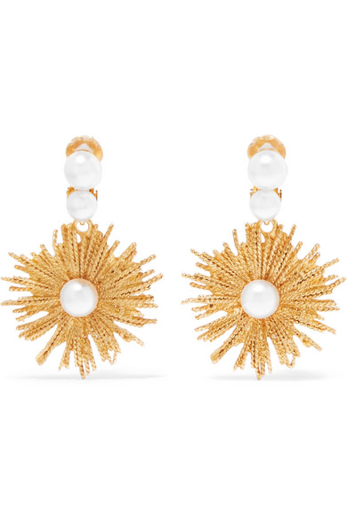 Oscar de la Renta - Gold-tone Faux Pearl Clip Earrings