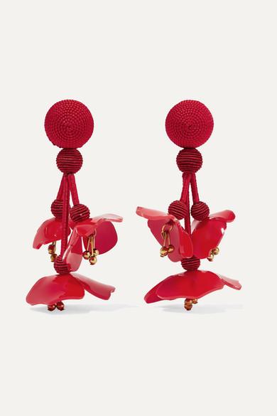 Oscar de la Renta - Falling Beaded Acetate Clip Earrings - Red