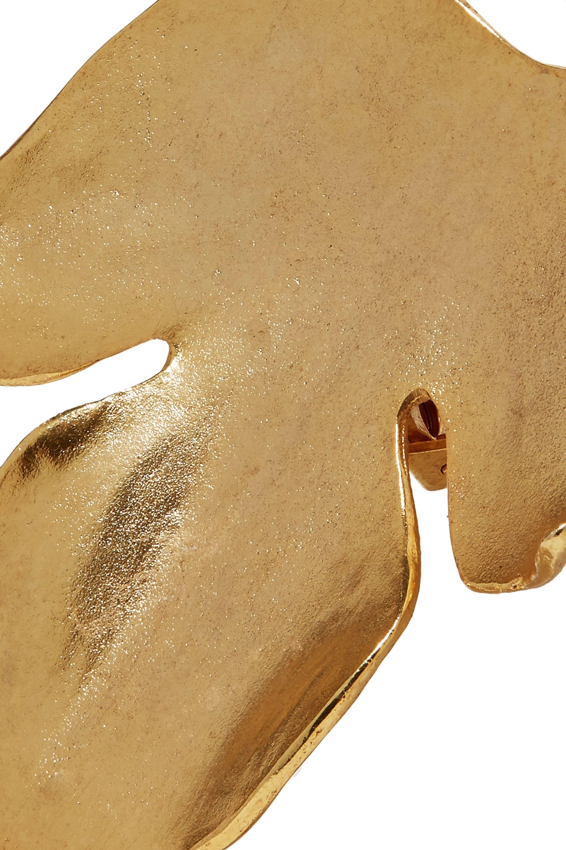 Oscar de la Renta Foliage gold-plated clip earrings