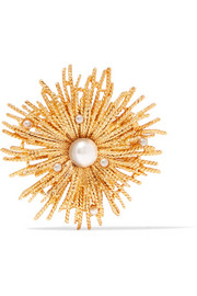 Gold-tone faux pearl brooch