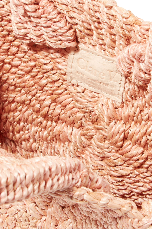Clare V. Alice Petit leather-trimmed woven abaca straw shoulder bag