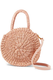 Alice Petit leather-trimmed woven abaca straw shoulder bag