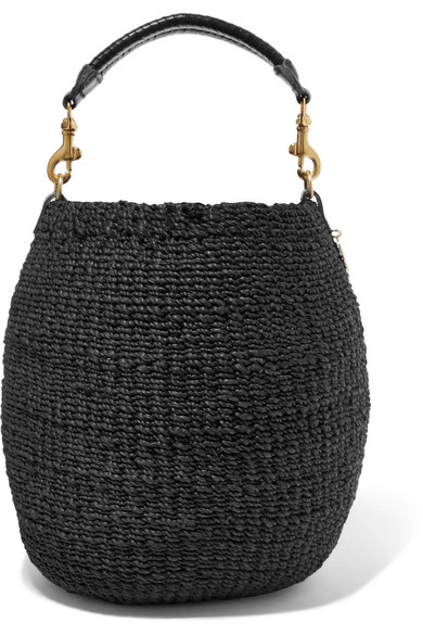 Clare V. - Pot De Miel Leather-trimmed Woven Abaca Straw Tote - Black
