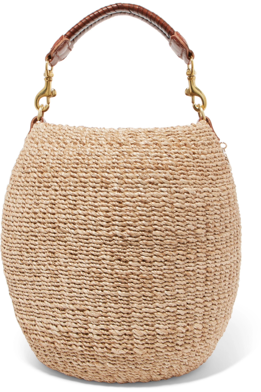 Clare V. Pot De Miel leather-trimmed woven abaca straw tote
