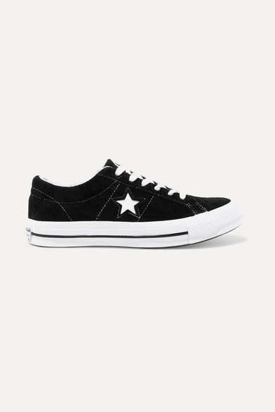 One Star Ox Cutout Suede Sneakers in Black