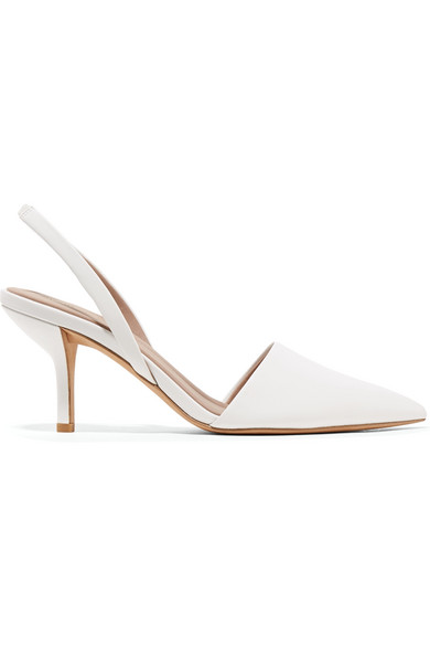 Mortelle Leather Slingback Pumps, White