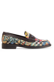 Leather-trimmed printed canvas loafers