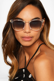 Choky cat-eye acetate and gold-tone sunglasses