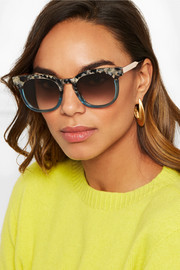 Cat-eye two-tone acetate and gold-tone sunglasses