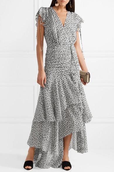 Veronica Beard Samara asymmetrisches Kleid aus Seidenchiffon mit floralem Print