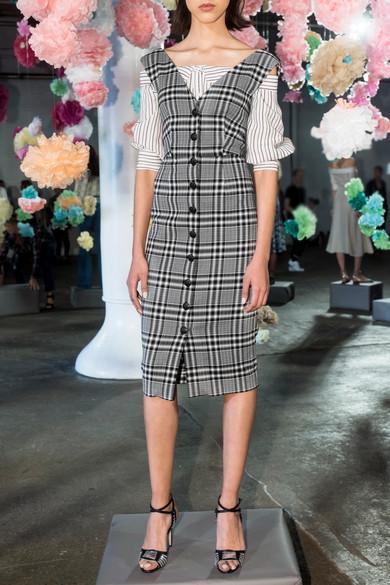 Veronica Beard Lark Midikleid aus kariertem Tweed aus einer Baumwollmischung