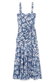 Marena gathered printed cotton-poplin midi dress