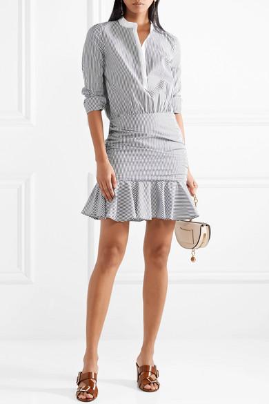 Veronica Beard Everett gerafftes Minikleid aus gestreifter Baumwollpopeline