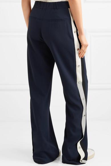 Veronica Beard Russo Jogginghose aus Stretch-Cady mit Streifen und Druckknopfleisten