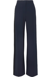 Veronica Beard Russo snap-fastening striped stretch-cady track pants