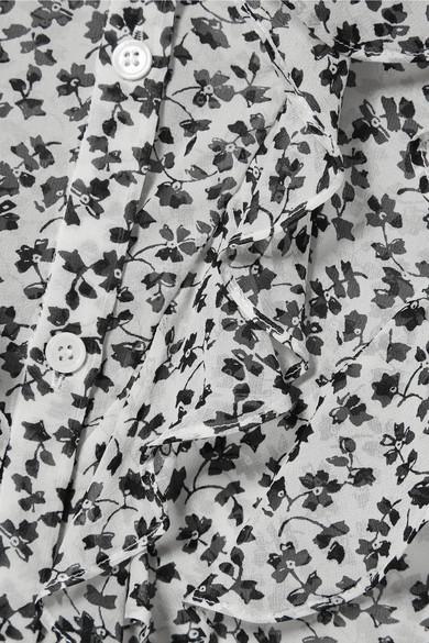 Veronica Beard Finley Schluppenbluse aus Seidenchiffon mit floralem Print