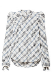 Isabel embroidered checked cotton-blend top