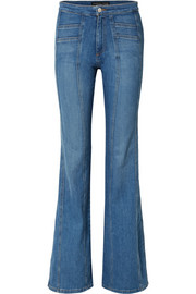 Farrah paneled high-rise flared jeans