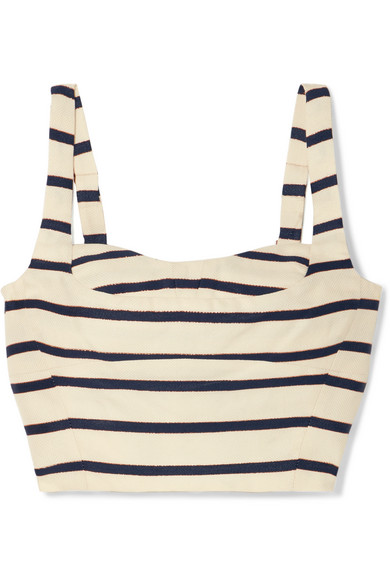 Gina Metallic Striped Cotton-Canvas Bustier in White from LastCall.com