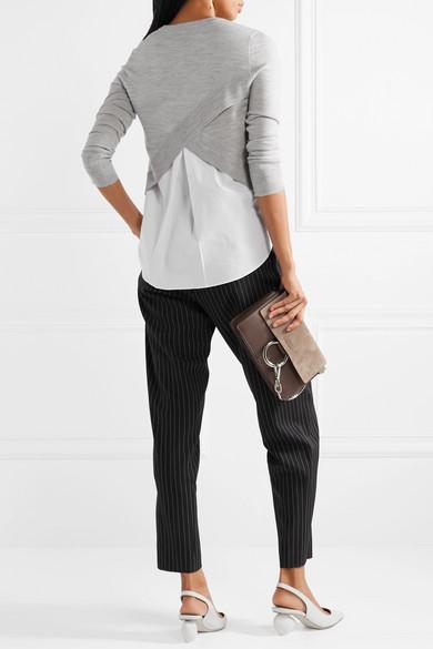 Veronica Beard Alma asymmetrischer Pullover aus Merinowolle und Popeline